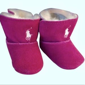 Ralph Lauren Baby Leather & Fur Booties Size 3